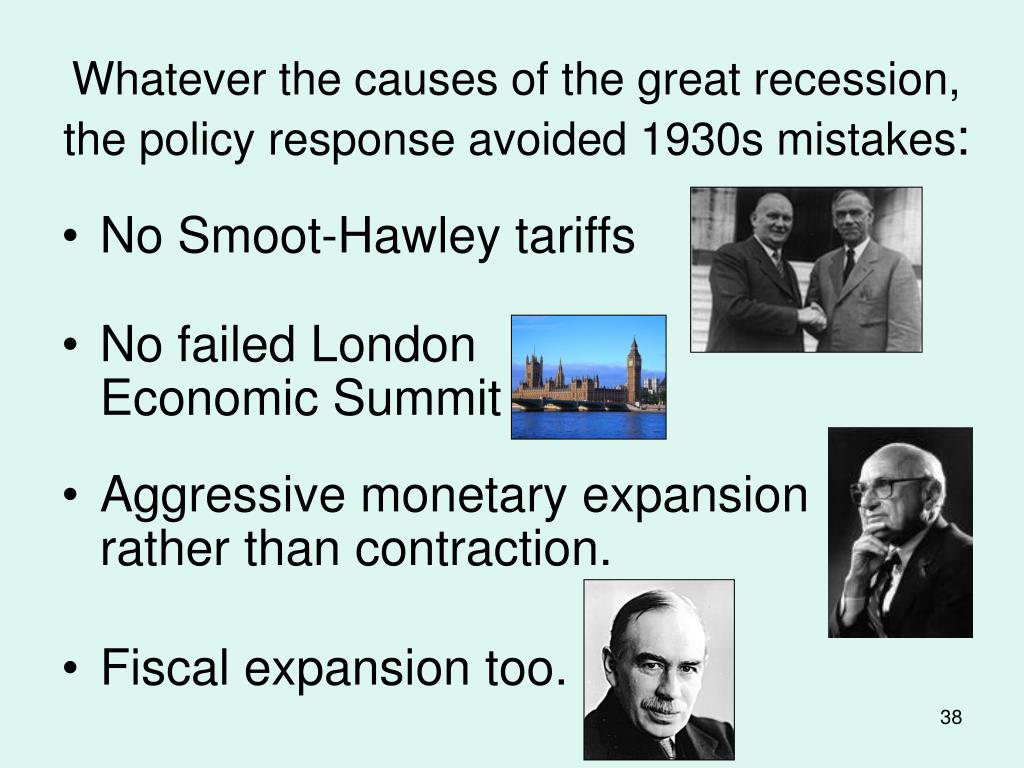 Whatever the causes of the great recession, the policy response avoided 1930s mistakes