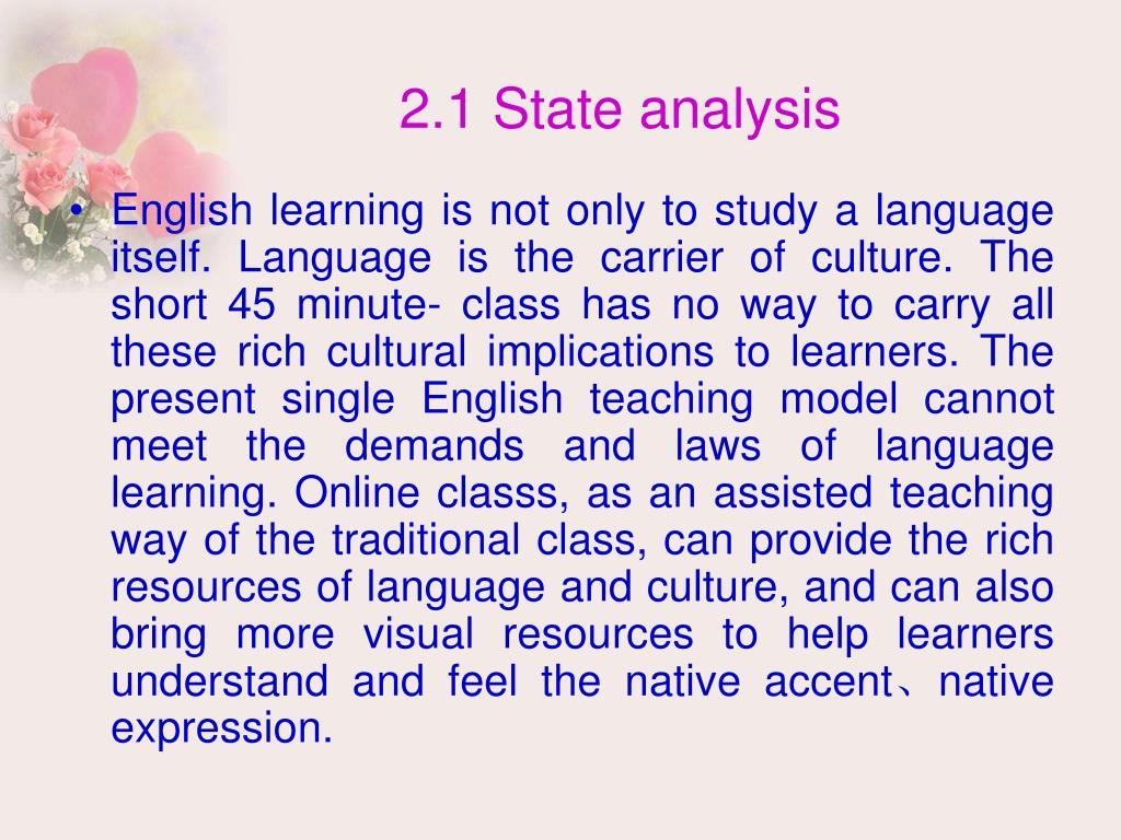 2.1 State analysis