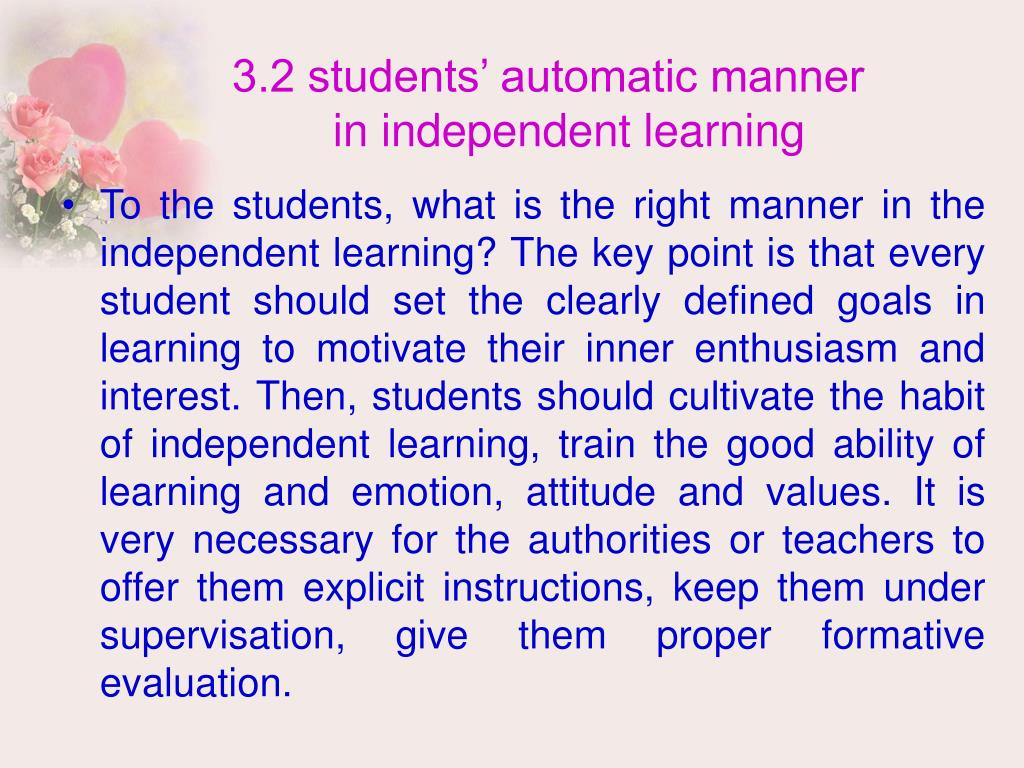 3.2 students' automatic manner
