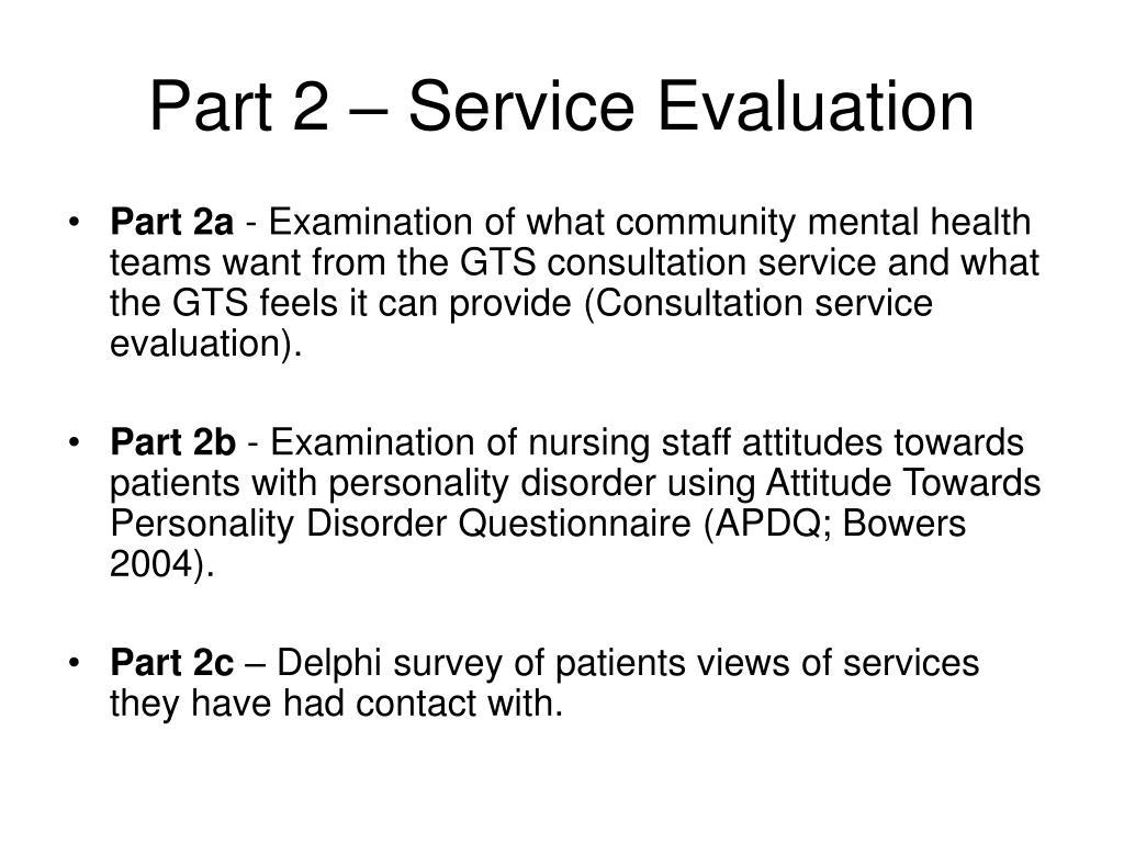 Part 2 – Service Evaluation