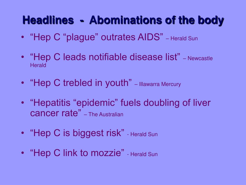 Headlines  -  Abominations of the body
