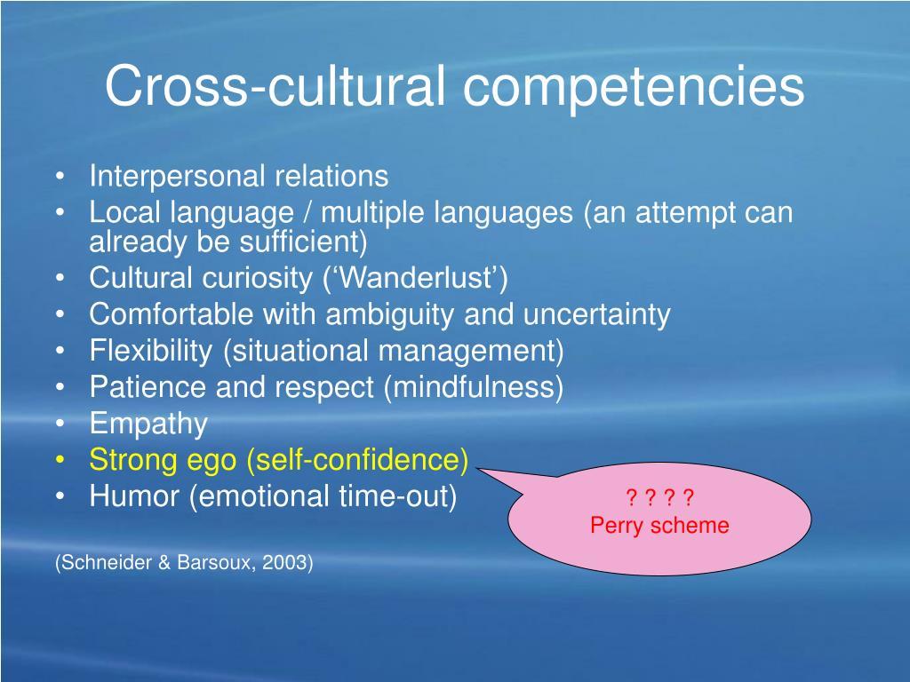 Cross-cultural competencies