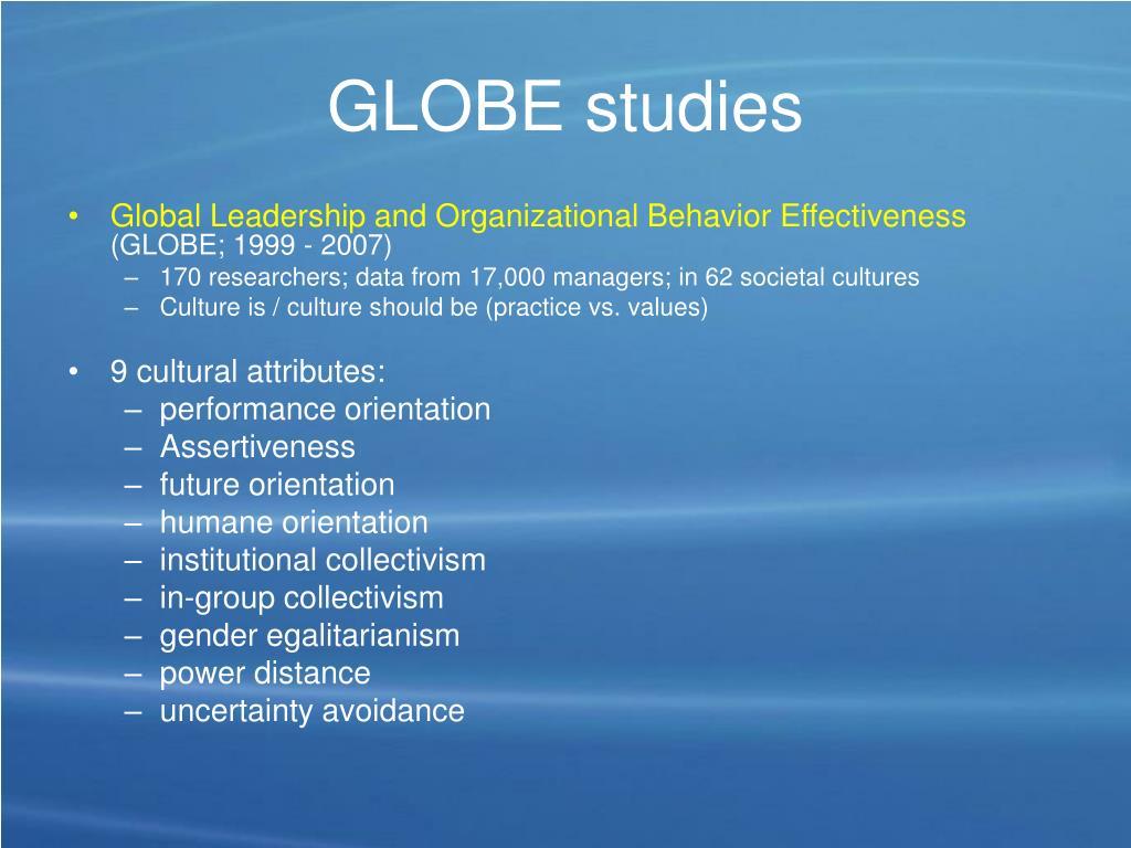 GLOBE studies