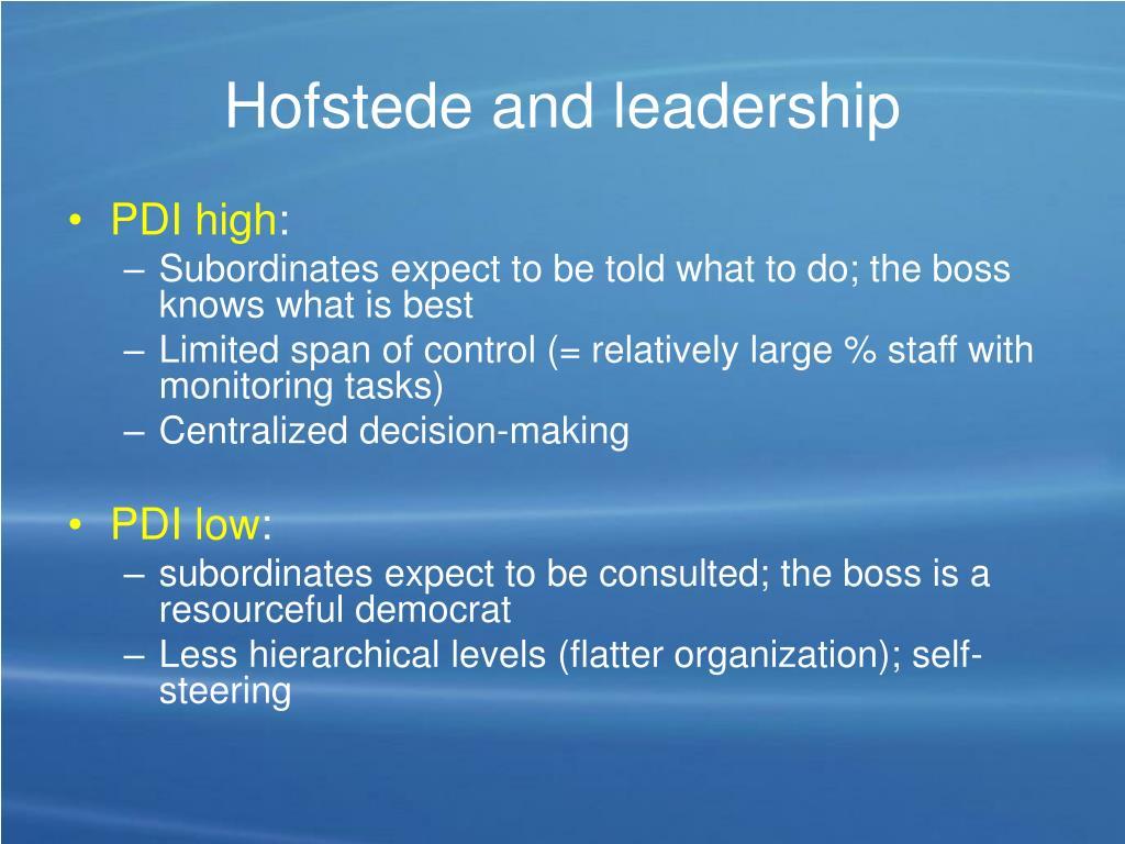 Hofstede and leadership