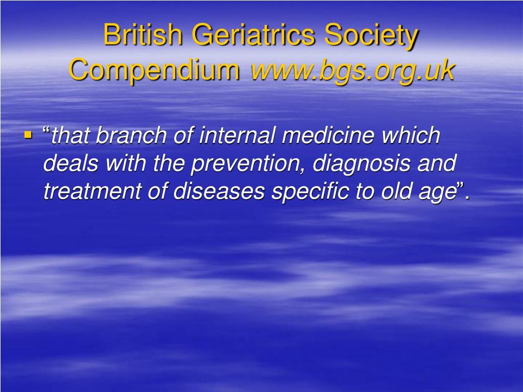 British Geriatrics Society Compendium
