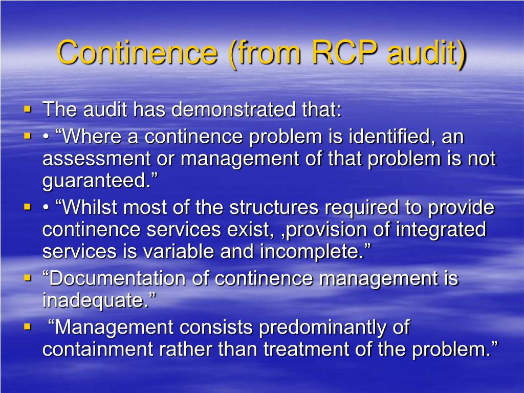 Continence (from RCP audit)