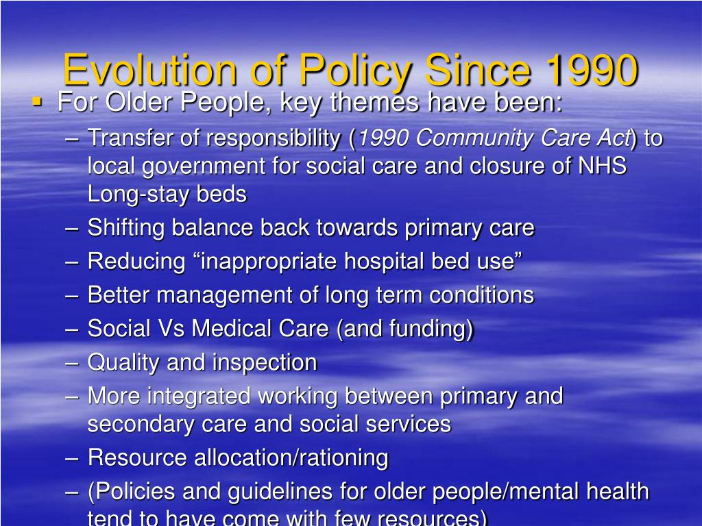 Evolution of Policy Since 1990