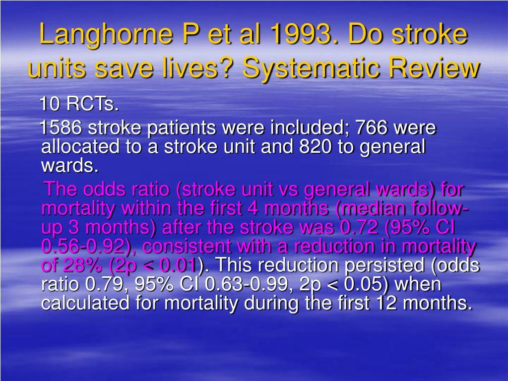 Langhorne P et al 1993. Do stroke units save lives? Systematic Review