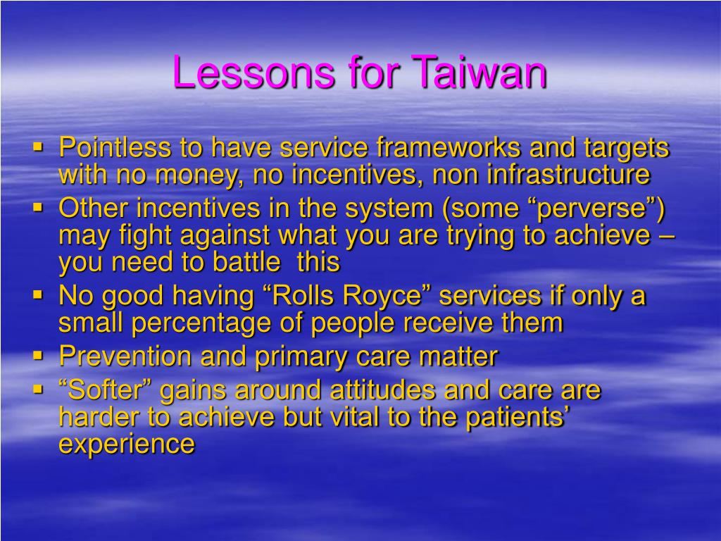 Lessons for Taiwan