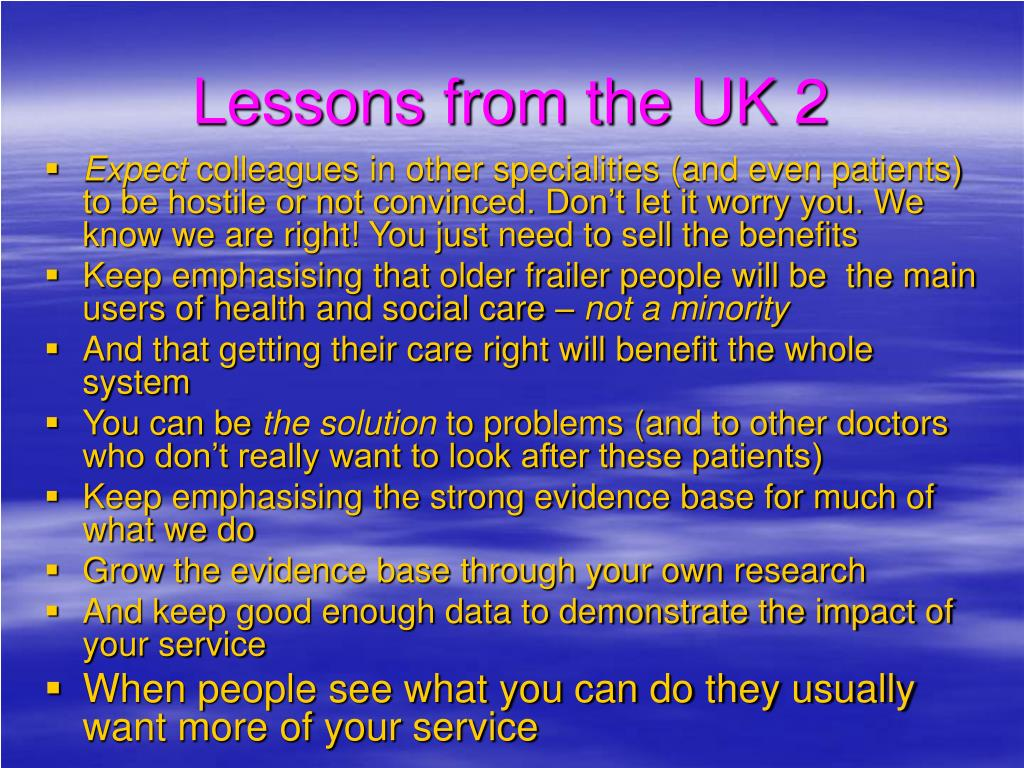 Lessons from the UK 2