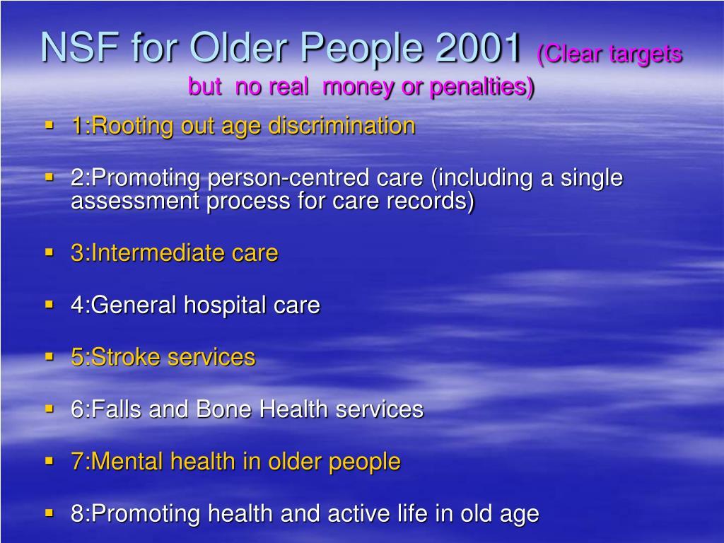 NSF for Older People 2001