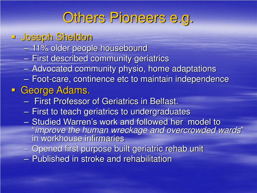 Others Pioneers e.g.