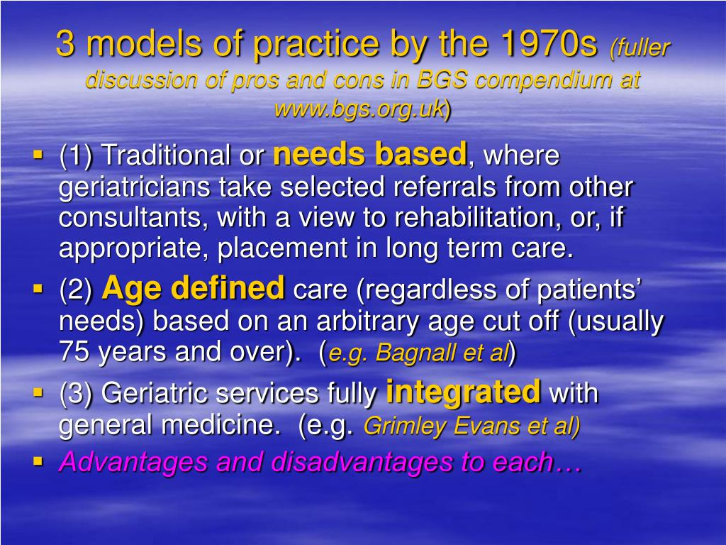 3 models of practice by the 1970s