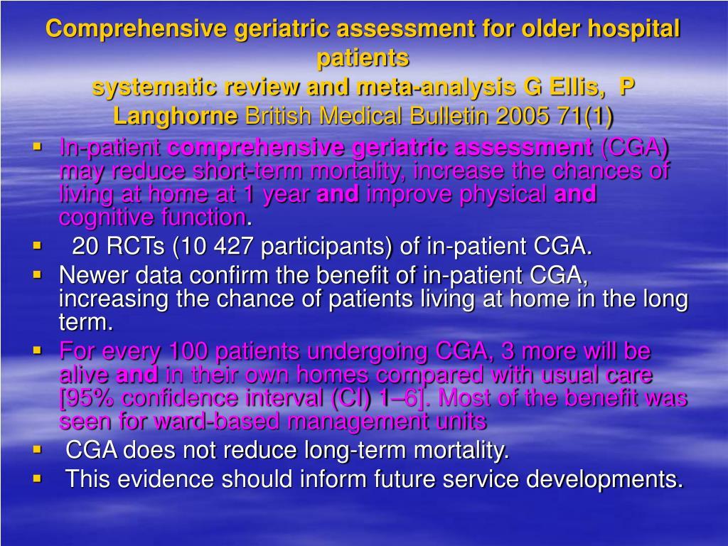 Comprehensive geriatric assessment for older hospital patients