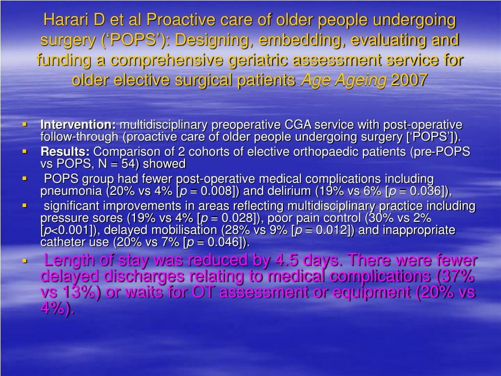 Harari D et al Proactive care of older people undergoing surgery ('POPS'): Designing, embedding, evaluating and funding a comprehensive geriatric assessment service for older elective surgical patients