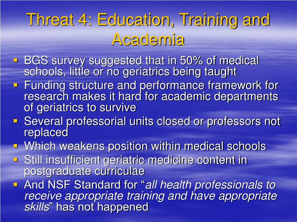 Threat 4: Education, Training and Academia