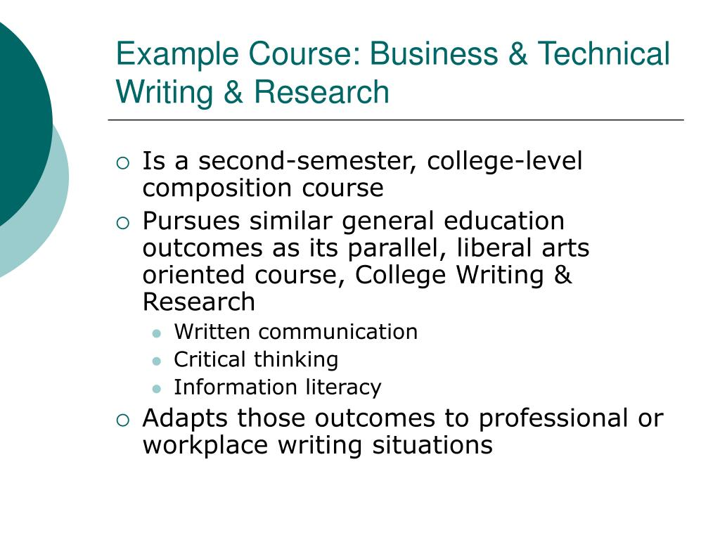Example Course: Business & Technical Writing & Research