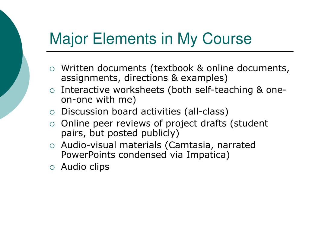 Major Elements in My Course