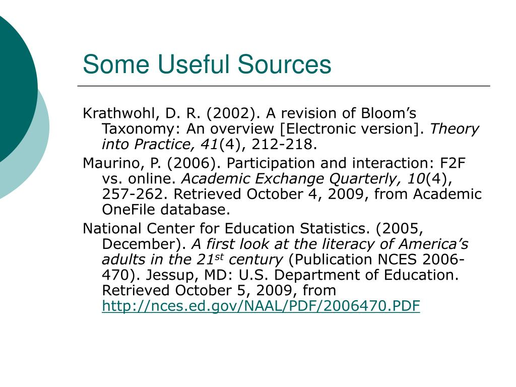 Some Useful Sources