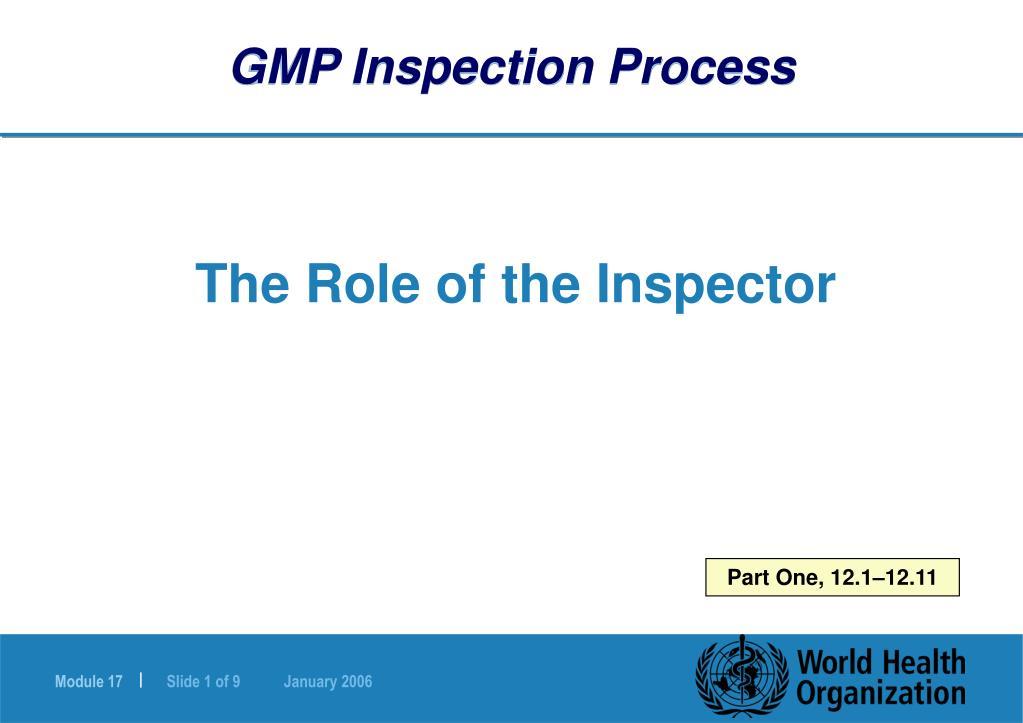 GMP Inspection Process