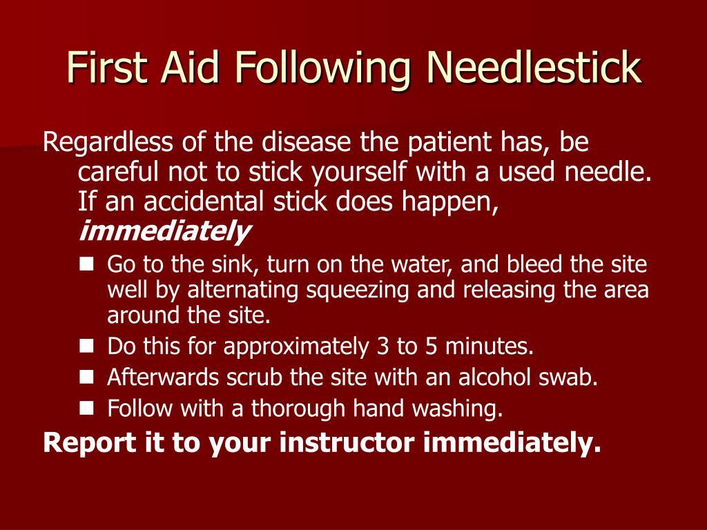 First Aid Following Needlestick