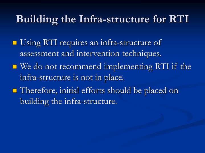 Building the Infra-structure for RTI