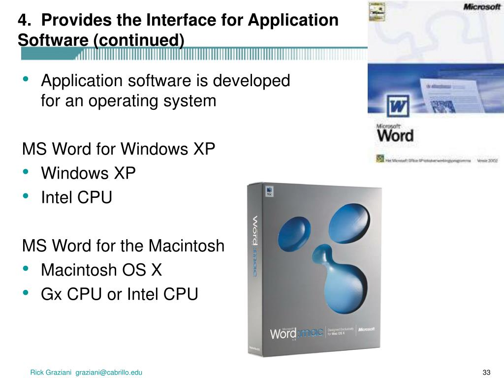 4.  Provides the Interface for Application Software (continued)