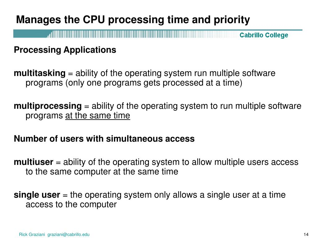 Manages the CPU processing time and priority