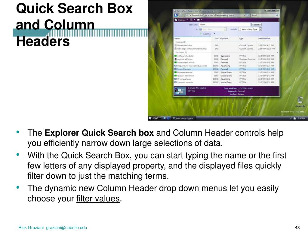 Quick Search Box and Column Headers
