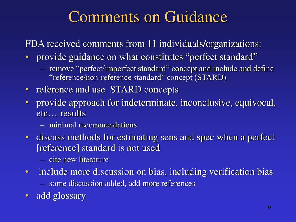 Comments on Guidance