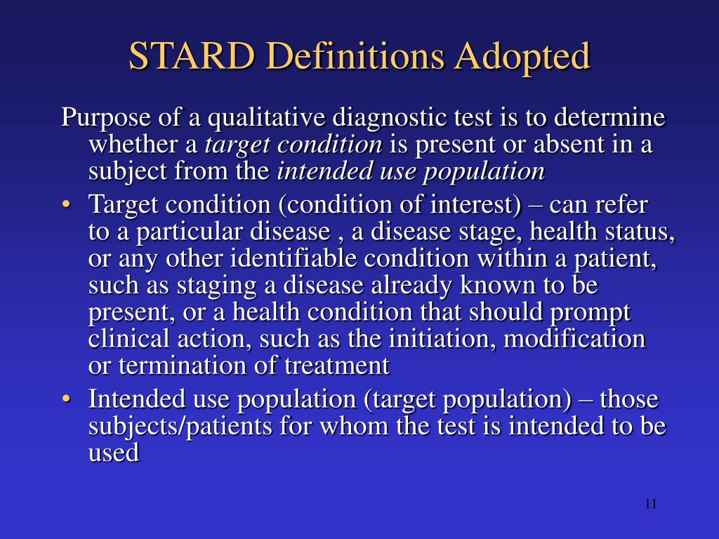 STARD Definitions Adopted