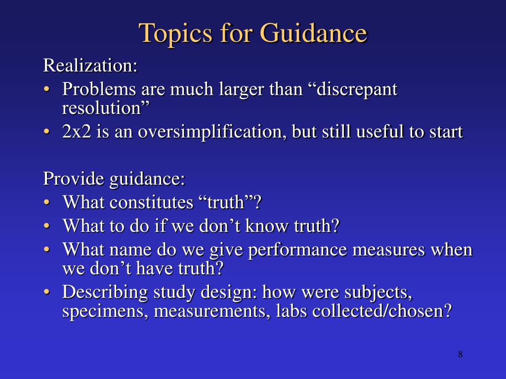 Topics for Guidance