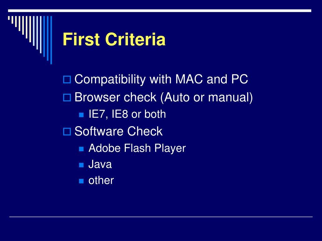 First Criteria