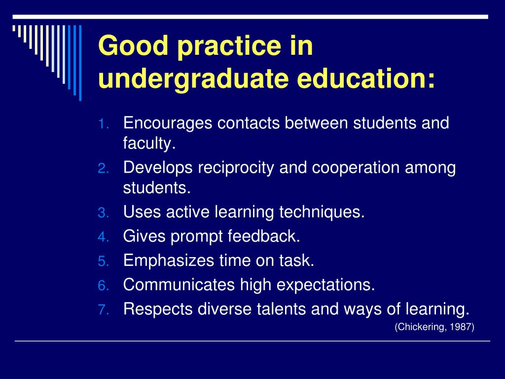 Good practice in undergraduate education: