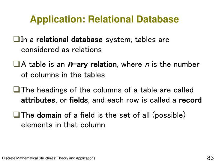 Application: Relational Database