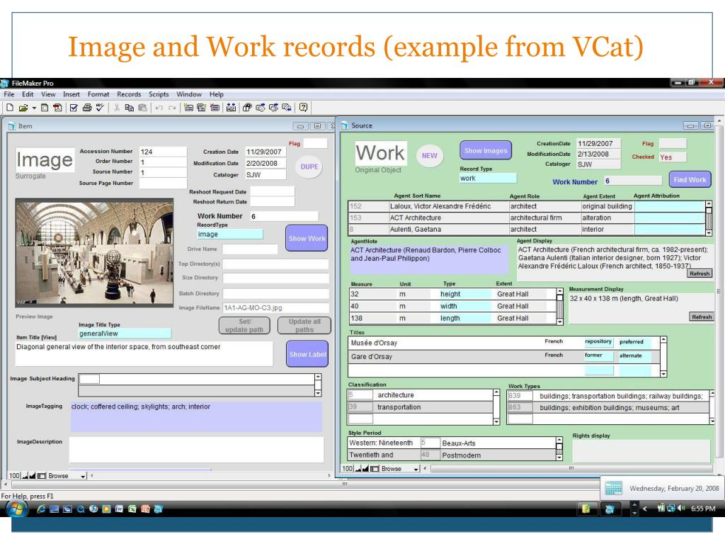 Image and Work records (example from VCat)