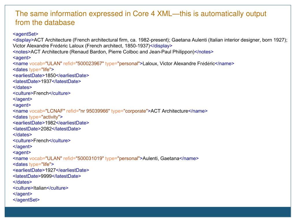 The same information expressed in Core 4 XML—this is automatically output from the database