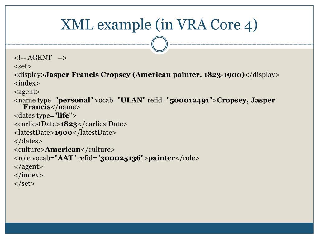 XML example (in VRA Core 4)