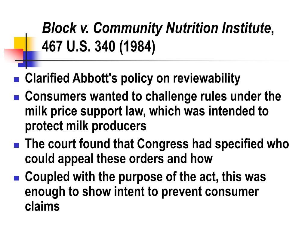 Block v. Community Nutrition Institute