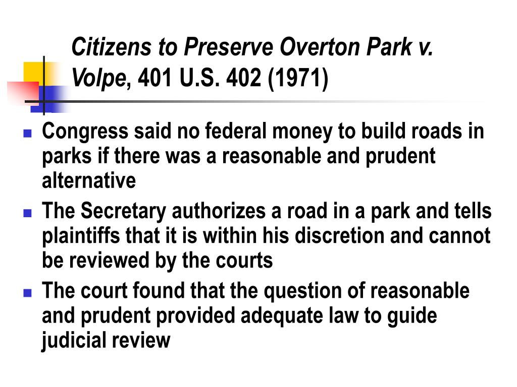 Citizens to Preserve Overton Park v. Volpe