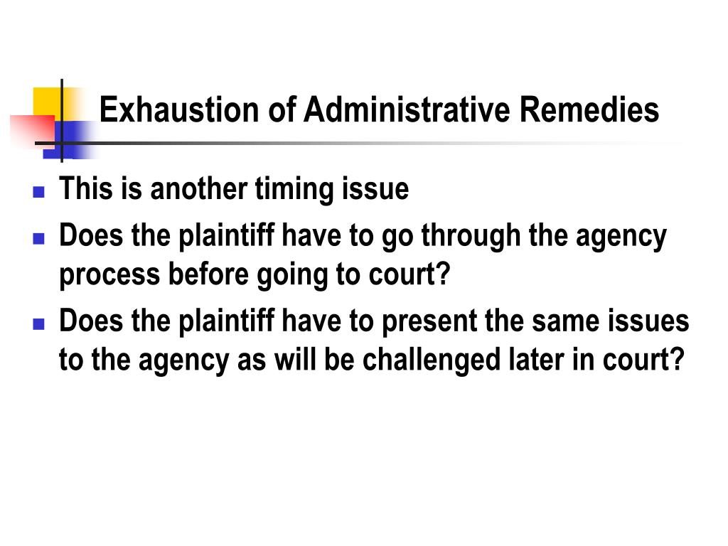 Exhaustion of Administrative Remedies