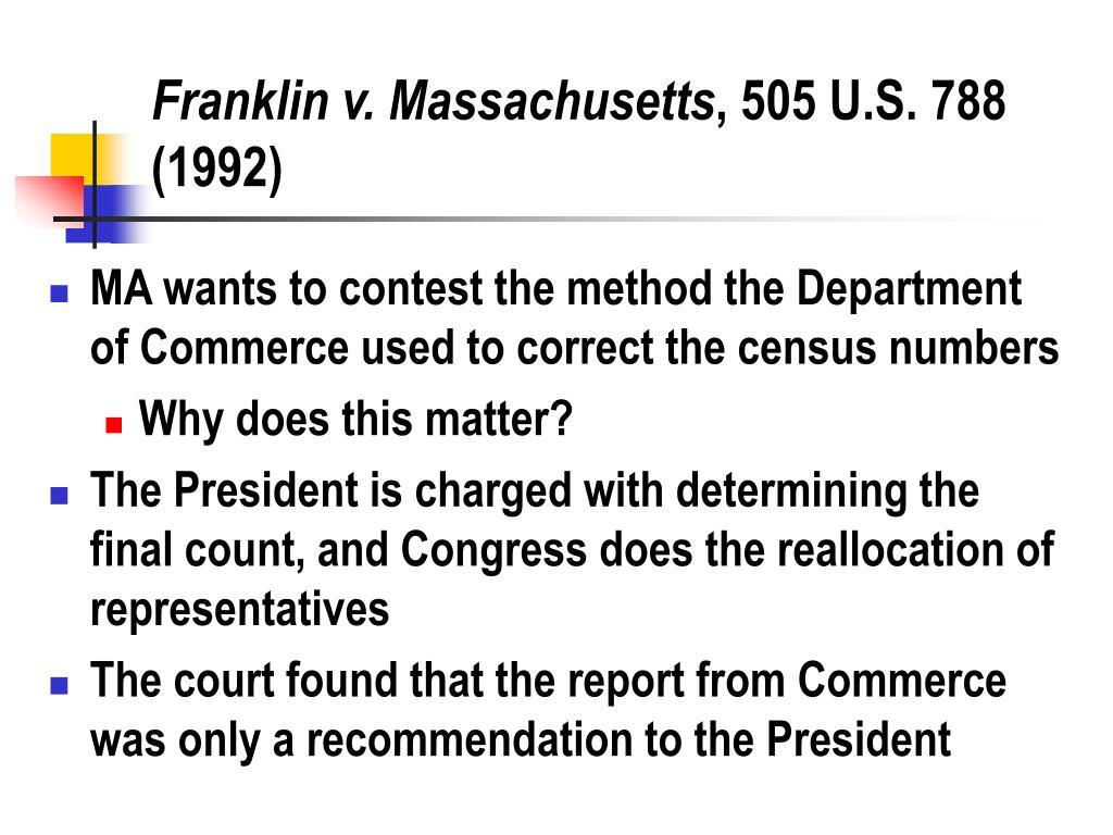 Franklin v. Massachusetts