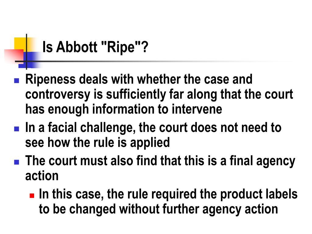 "Is Abbott ""Ripe""?"