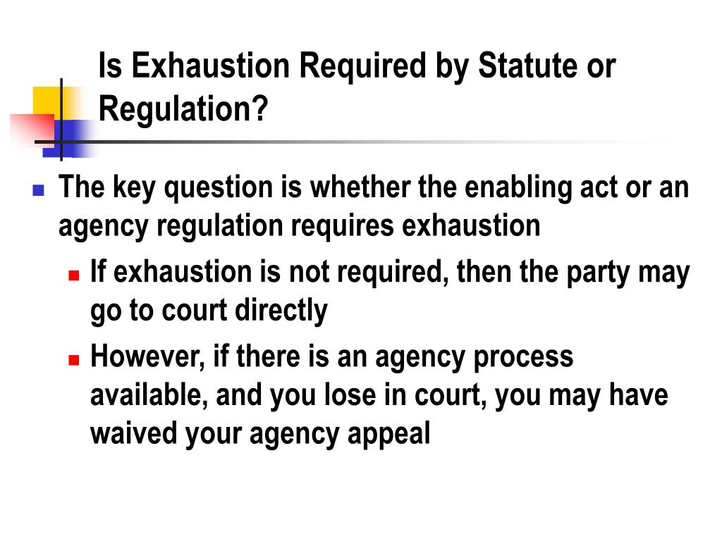 Is Exhaustion Required by Statute or Regulation?