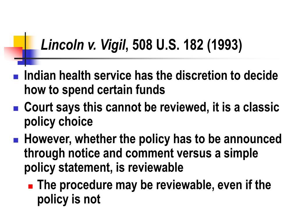 Lincoln v. Vigil