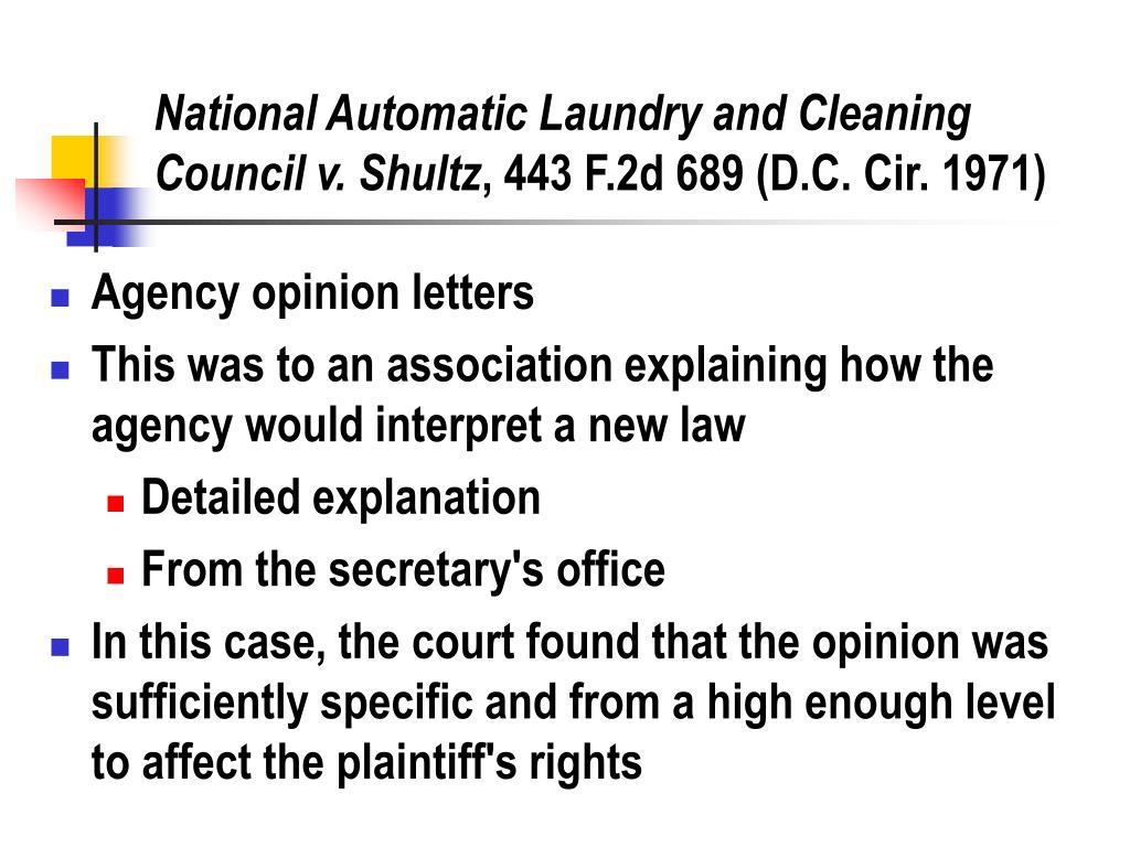 National Automatic Laundry and Cleaning Council v. Shultz