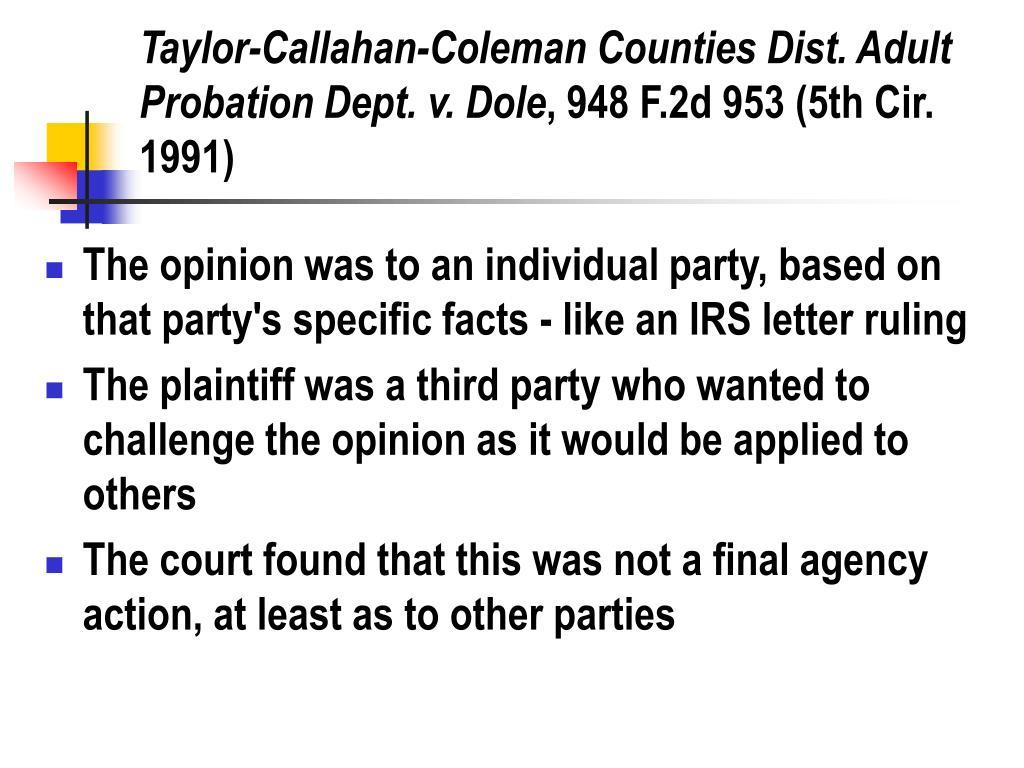 Taylor-Callahan-Coleman Counties Dist. Adult Probation Dept. v. Dole