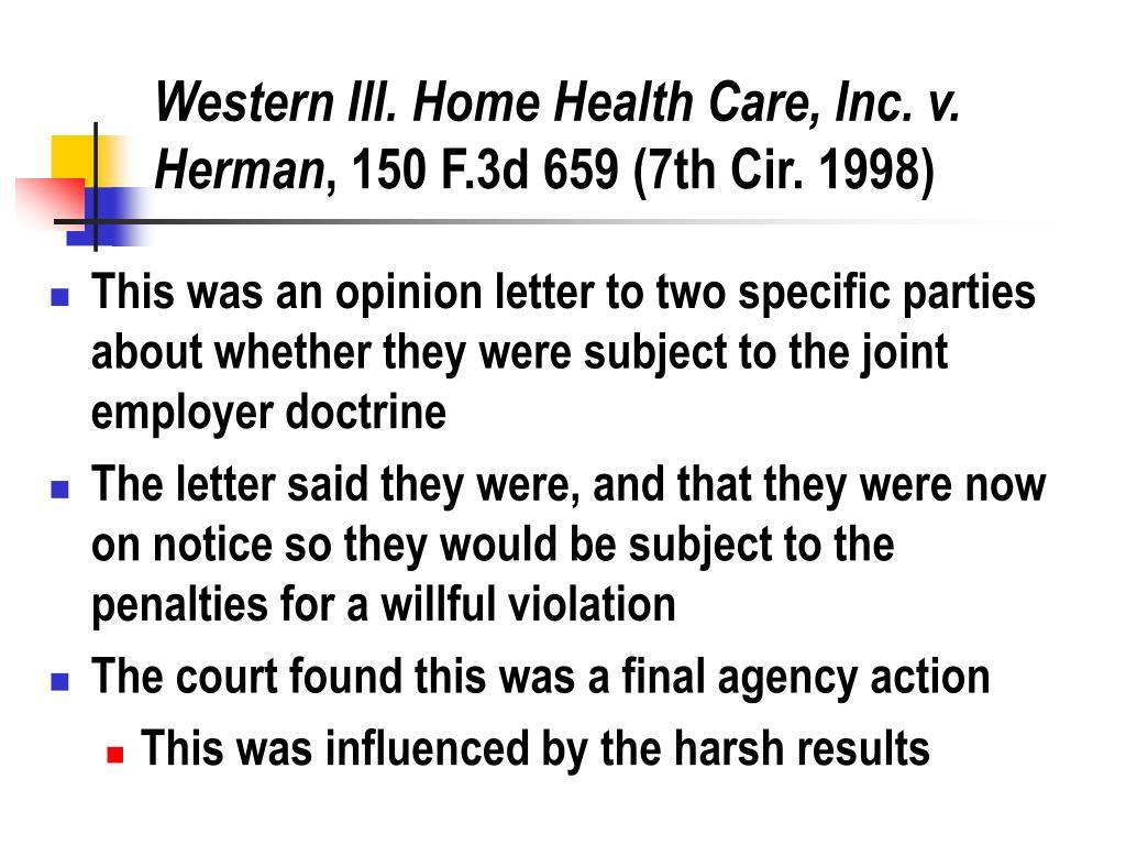 Western Ill. Home Health Care, Inc. v. Herman