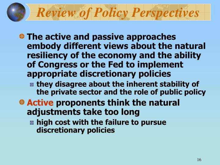 Review of Policy Perspectives