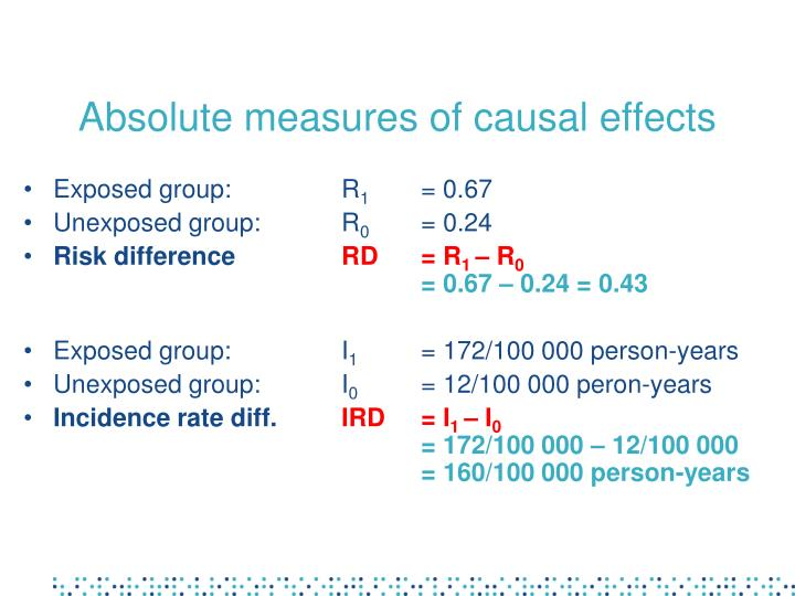 Absolute measures of causal effects